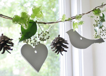 The more natural decorations are, the better.  Especially if they contain bird silhouettes.   (via  Nini Makes )
