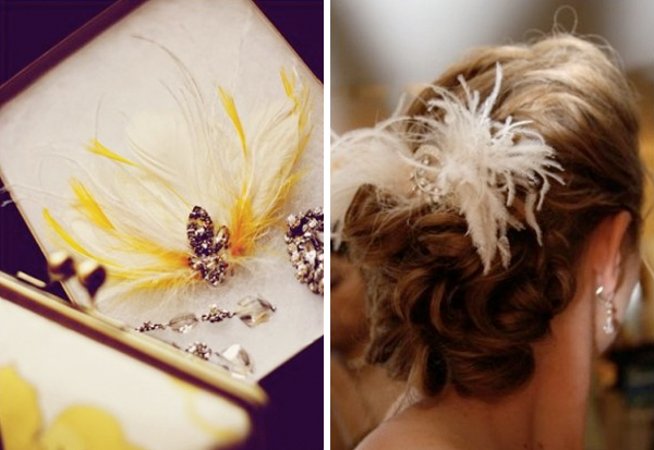 I've always loved feathered hair pieces.  But they have to be done in a classic elegant way, not in a dead-bird-on-the-head tacky way.   ( Once Wed )