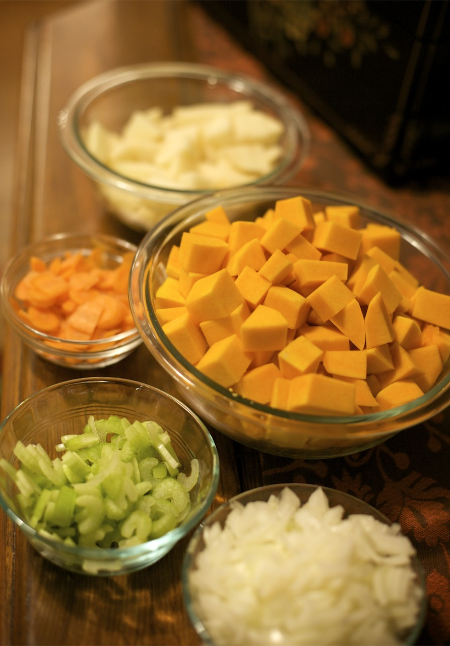 I made butternut squash soup tonight. Prep took a long time. Probably because I was watching Law and Order while peeling and chopping.