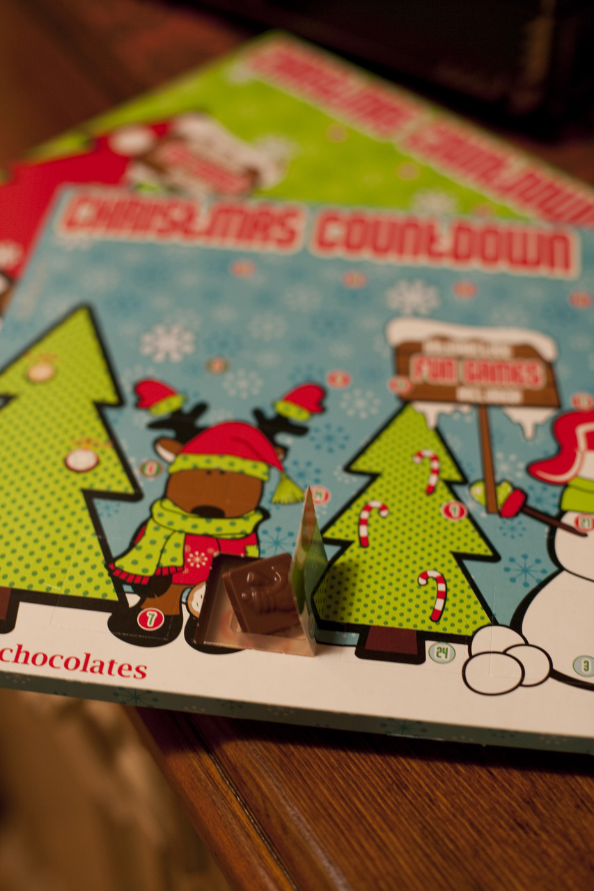 The first Christmas Advent chocolate.   Every year, my mom still gets us chocolate Advent calendars.  She always makes sure that she picks out the perfect ones. The teal one is mine, because it is my current favorite color.  Thank you Mom!