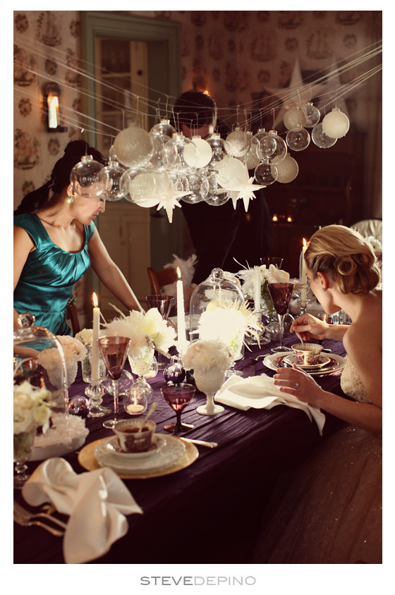 HUGE inspiration.  I want to have a holiday party just like this.  I already have the amethyst depression glass.  Wishing for a house for fabulous parties around a long rustic dinning room table. Steve DePino | Style Me Pretty (via robot-heart)