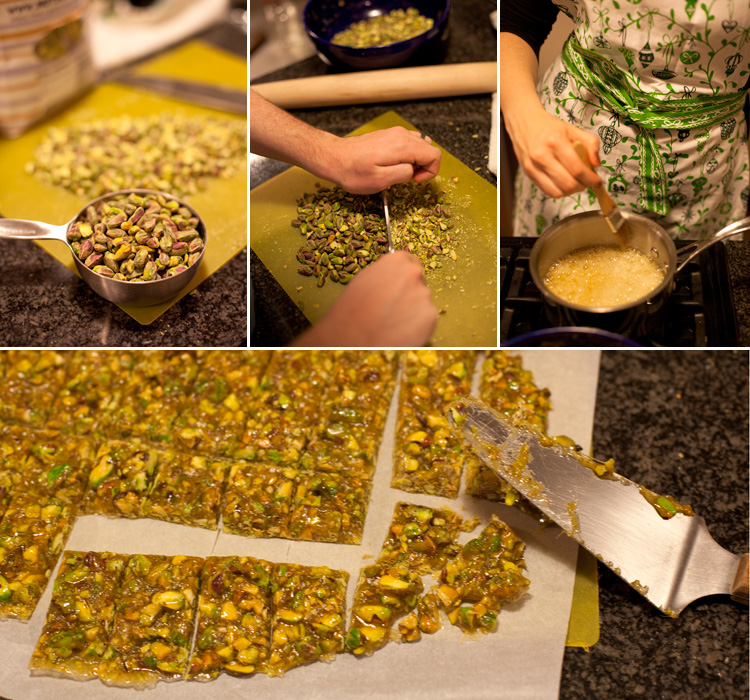 I make a lot of pistachio brittle during the holidays.  Batches two, three, and four are on the agenda for tomorrow. ( Marco  helps too)