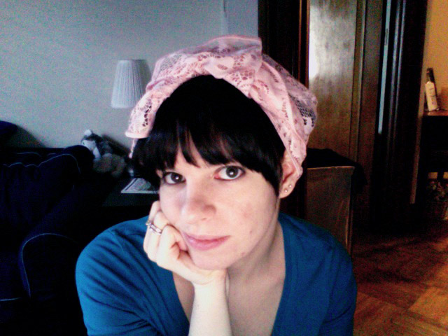 Trying to set my hair with pin curls.  I feel so retro with this scarf on my head while baking all afternoon!