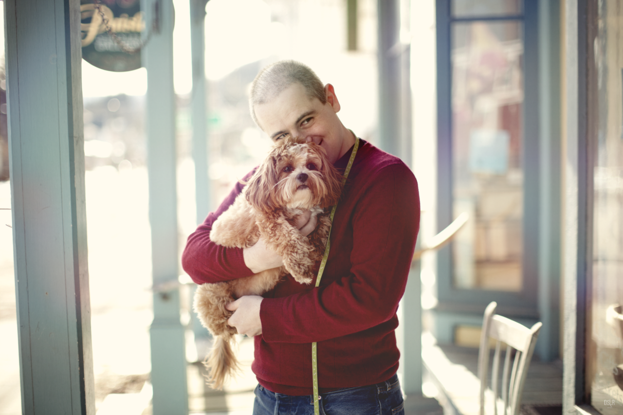 Marco  being cute with our puppy on the sidelines during  my maternity shoot  with  d.s.elle.r Photography .
