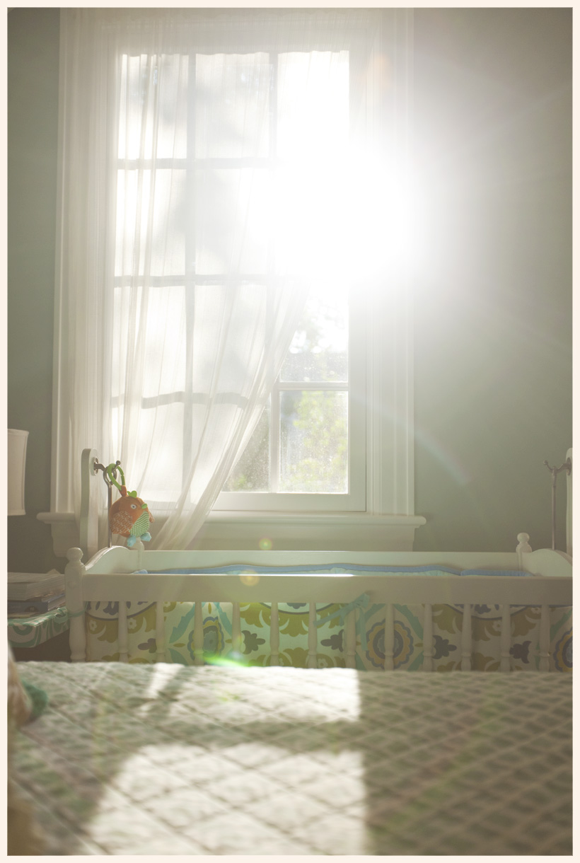 I just love the afternoon sun that fills our bedroom in the summer.  I've been thinking we really should pack up Adam's cradle since he has been sleeping in his own room for about two months now. I wanted this photo to remember it being there before we put it away.