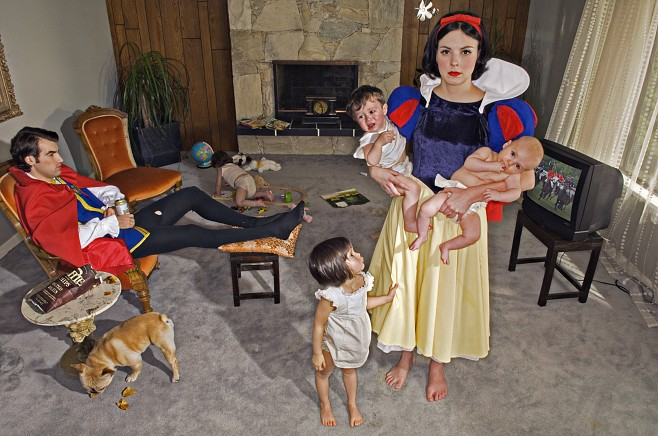 """These works by Vancouver photographer  Dina Goldstein  place Fairy Tale characters in modern day scenarios. In all of the images the Princess is placed in an environment that articulates her conflict. The '…happily ever after' is replaced with a realistic outcome and addresses current issues.       """" I began to imagine Disney's perfect Princesses juxtaposed with real issues that were affecting women around me, such as illness, addiction and self-image issues. """"       Click through for the rest of the set.   (via sade  and Robotheart )"""