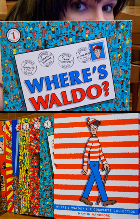 "Ryan  got me the Where's Waldo? collection for my birthday!  I have the best brother.   The first thing I did when these books arrived in the mail was go to the first book and find the beach scene to look for the topless woman.  In elementary school we would get this book out just to find that lady and laugh.  Well, she isn't there anymore!  It was edited out!  Of course I had to search the internet to find out where Topless Mary had gone.  I found this:  Picture Book Legends Reveled      ""In 1993, people found a little bit more than just Waldo when they went looking into the book - they found some controversy!    In the first Where's Waldo? book, there is a scene that takes place at a beach. Well, one of characters is a woman who is sunbathing topless while laying on her stomach. No problem, right? Not even the biggest prude in the world would have a problem with someone topless laying on her stomach, right?    However, as part of the gag, a little kid drops his ice cream cone on her back, and as a result, the woman jumps up a bit and you basically see her left breast…   It's practically microscopic, but it IS there, and a Long Island woman found it and had her local school pull the book from their library.    And that is why the book is ranked #88 on the most frequently challenged books list.    When the book wad re-issued recently, they actually corrected it - the woman now wears a bikini top""   Parents are LAME! What fun will kids today have if they can't discover a rogue cartoon breast while searching for Waldo?"