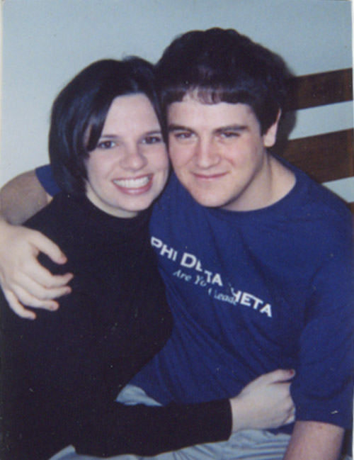 """Ten years ago today  my husband  and I went on our first date. After a week of IMing, he officially asked to take me out to dinner. I was a freshman at Allegheny College and he was a sophomore. He had a friend let him into my dorm so he could pick me up at my door. He brought me a rose. We decided to get Italian food, at the Olive Garden, 45 minutes away. It was seriously the best place to go out in the boonies of Northwester PA. So our first date started with a long drive together in the car.  When we got to the restaurant, we both ordered the same meal, pesto ravioli. When the bill came, he payed like a gentleman and I made a little paper heart out of the after-dinner mint wrapper. Marco still has that  little paper heart  today.  On the drive home he played The Meat Puppets and sang along to """" Eyeball """". We went back to his dorm and watched Office Space. As the credits were rolling I turned around to look at him and we had our first kiss.  Ten years later, I haven't stopped kissing him."""