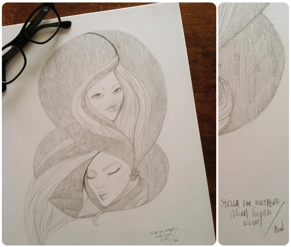 Drawing class. Inspired by Hultberg/Fujita/Klimt