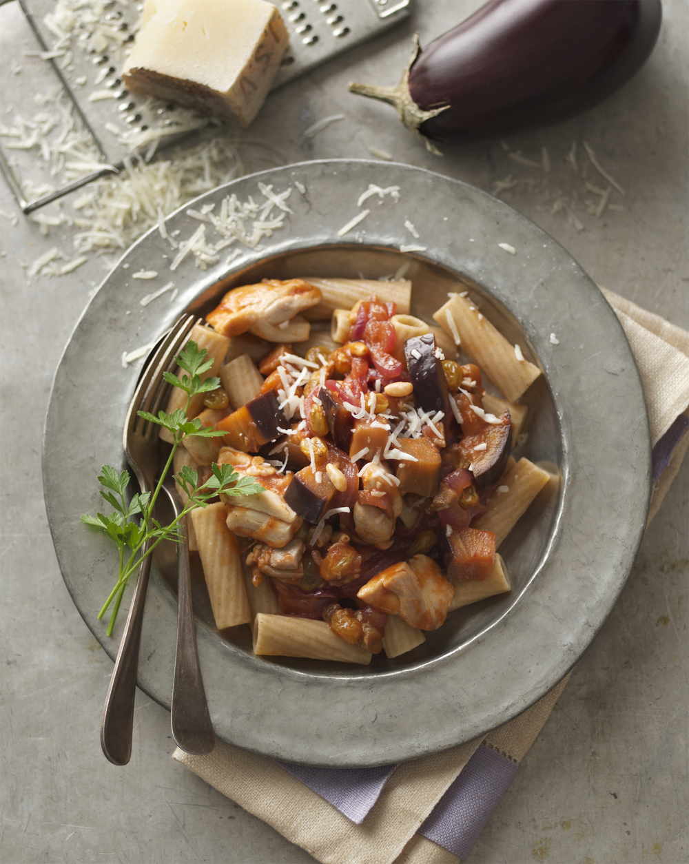chicken caponata rigatoni (click here for recipe)   photo: Dennis Becker