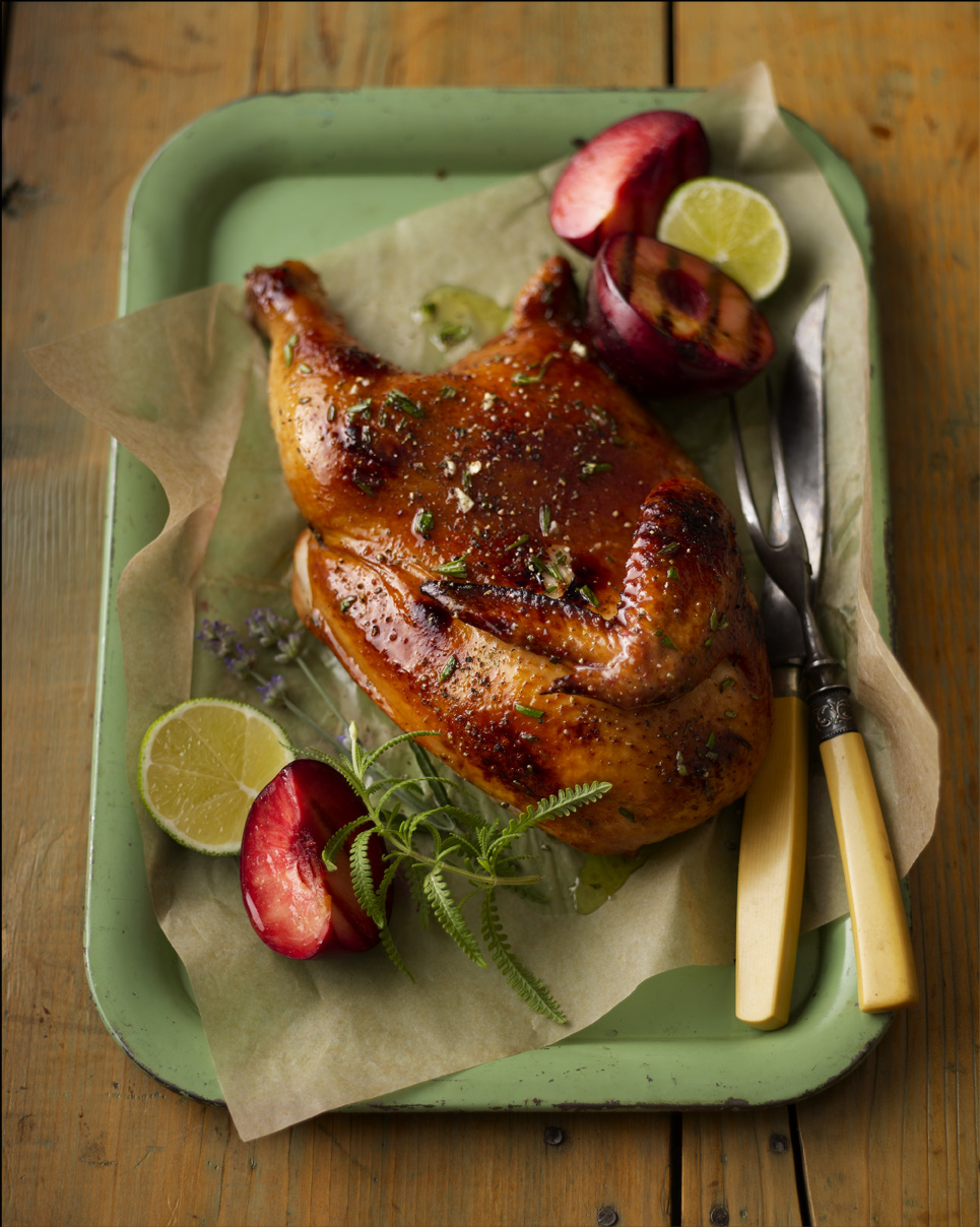 ©  Dennis Becker, recipe + styling by Lisa Golden Schroeder (Herbal Honey Glazed Chicken with Stone Fruits)
