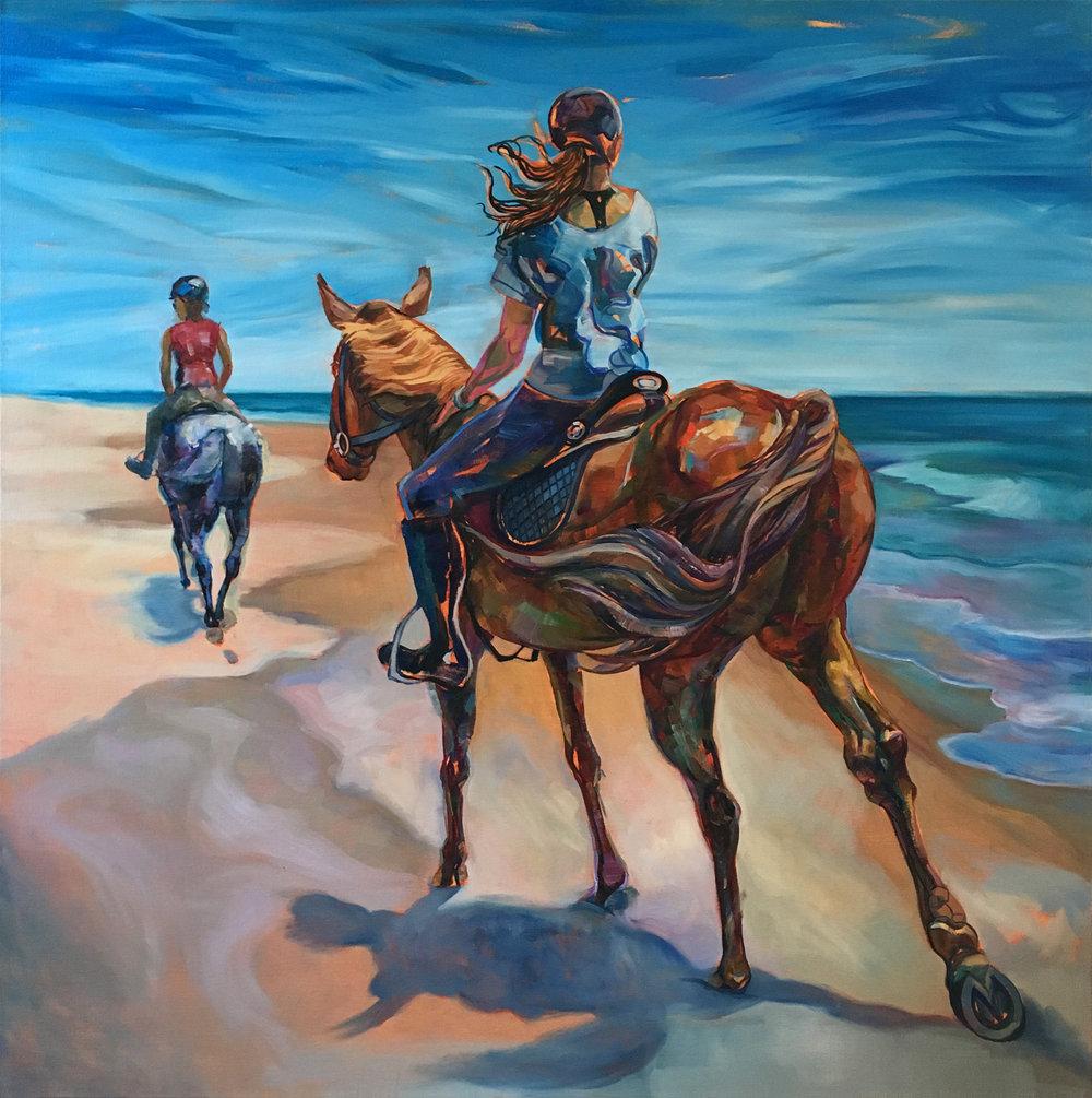 """""""Fort Tilden Riders"""" Oil on canvas, 2016 ®Miron Kiriliv"""