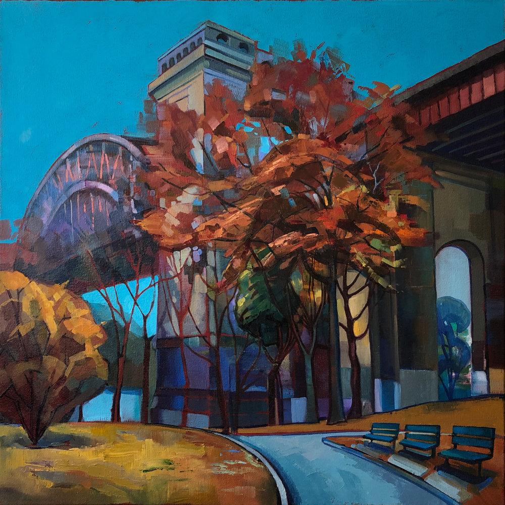 """Astoria,Hell's Gate Bridge"" Oil on Canvas, 2015, ®Miron Kiriliv"
