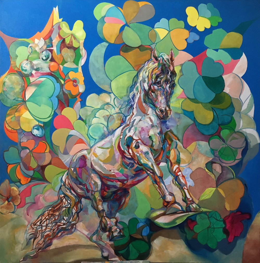 """""""Hungarian / Budapest Horse"""" Oil on Canvas 50x50"""", 2017"""