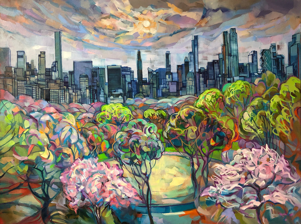 """""""Spring View on Manhattan's Skyline from the Met"""". oil on canvas 60x30"""", 2018"""