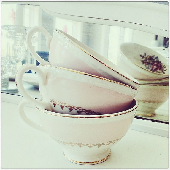 We served coffee in these adorable vintage cups.