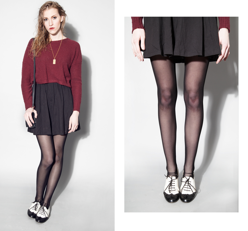 HIGH WASTED SKIRT -FOREVER 21 MAROON CROP SWEATER -URBAN OUTFITTERS GOLD NECKLACE -ONESTRANGEBIRD.COM SADDLE SHOES -CANDIE'S