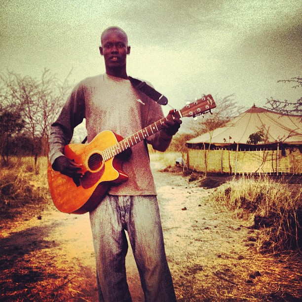 Breere playing some Farka outside our tent (Taken with  Instagram  at Sandiara Village, Mbour, Senegal)