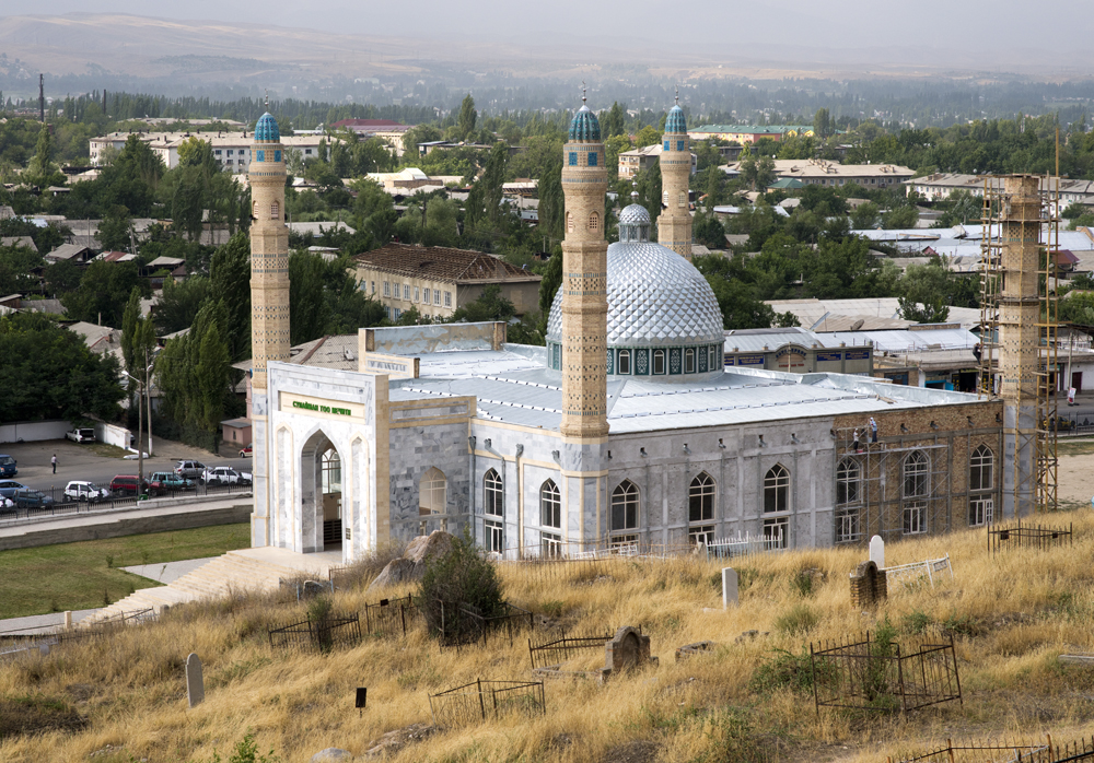 The Sulaiman Too Mosque is the newest of several hundred mosques located in Osh, Kyrgyzstan. In this ethnically diverse area, more than 80% of the population is Muslim. On the average day, one may hear an azan (call to prayer) through the loudspeakers of nearby mosques