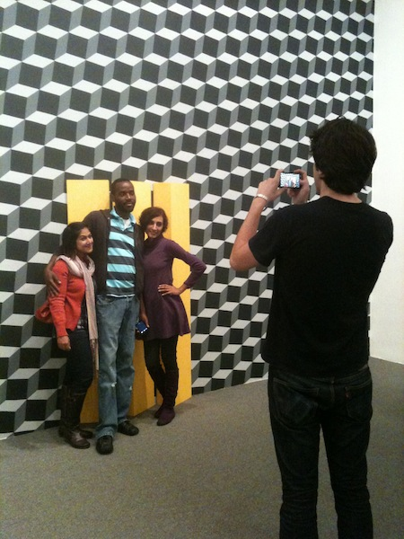visitors posing with Phonetic Landscape... at the Baker Artist Awards exhibition closing at the BMA, October 2011.