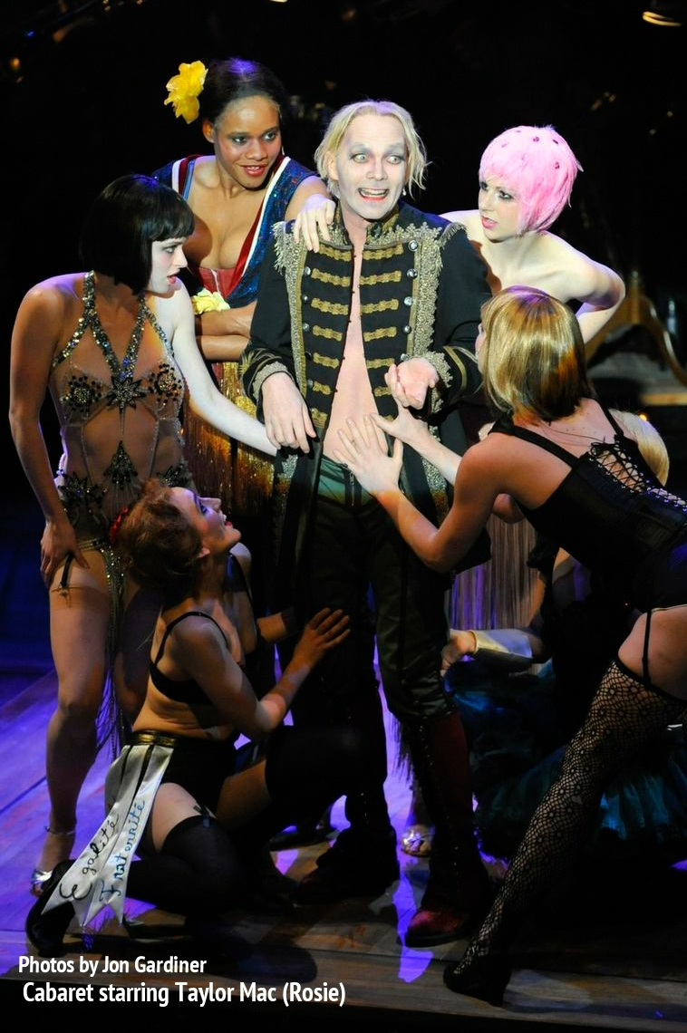 Emcee (Taylor Mac) and Kit Kat Girls in  Cabaret  -  PlayMakers Rep  2013 - Photos by Jon Gardiner