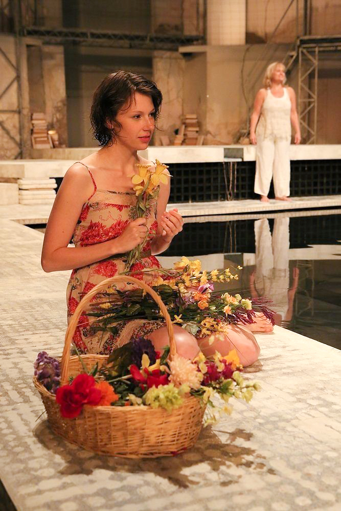Pomona and Narrator (Julia Gibson) in Ceres and Erysichthon (Nilan Johnson) in  Metamorphoses  -  PlayMakers Rep  2013 - Photos by Michal Daniel