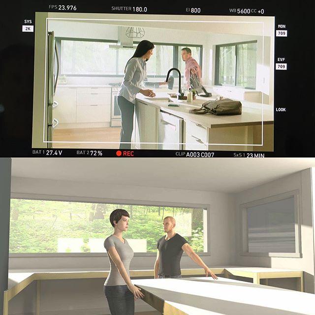 Previz vs. real world shoot. Loving @cinematographydb #cinedesigner #cinematographer #dop #filmlife #previz #dp #comercial