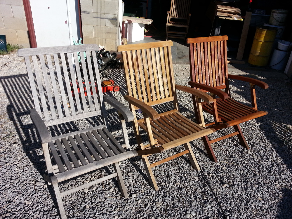 3 Stages Of Refinish. Teak Outdoor Furniture