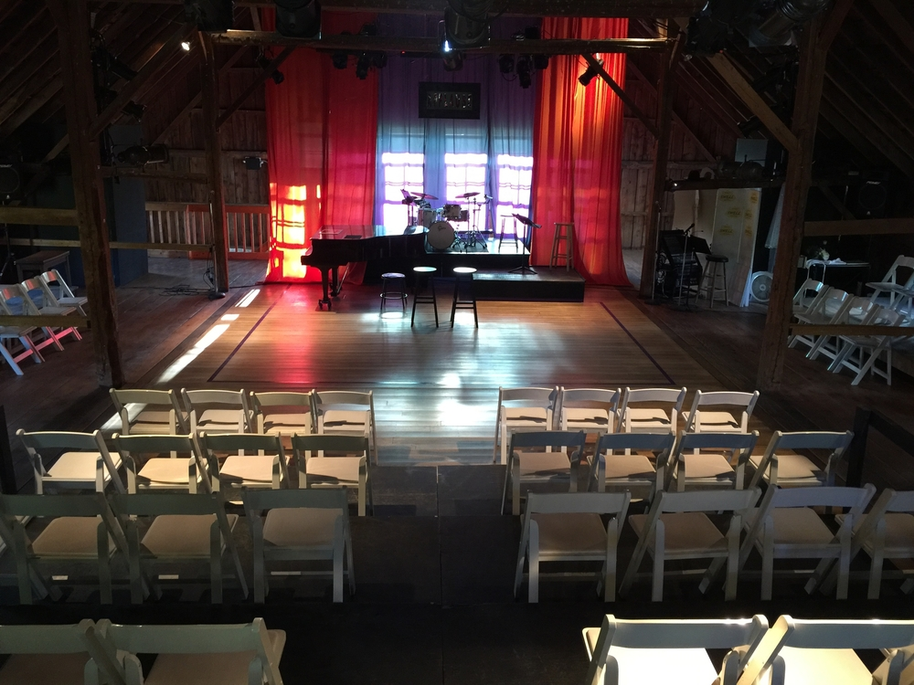 theater set-up at The Skinner Barn