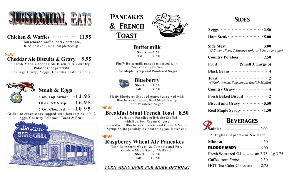 Original Menu Side 1