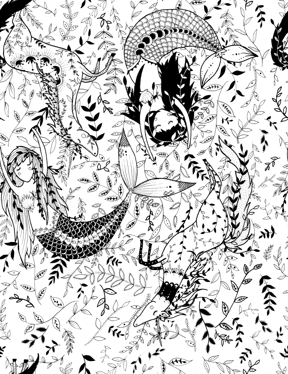 Mermaids and Unicorns Repeat Pattern.png