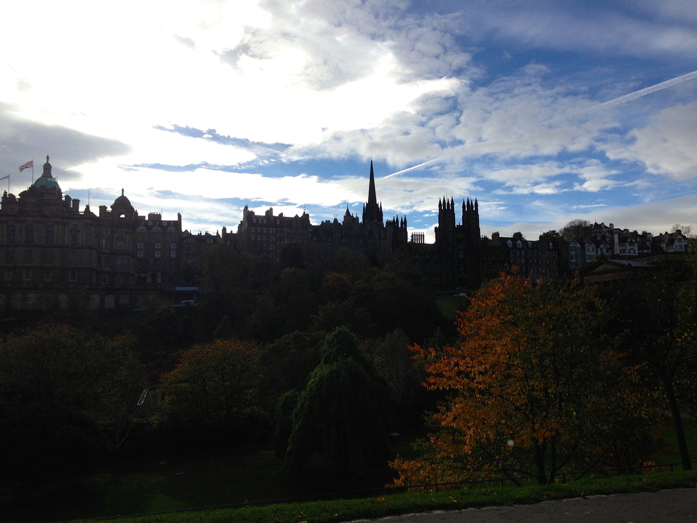 The view from Princes Street, with a red leafed tree in front