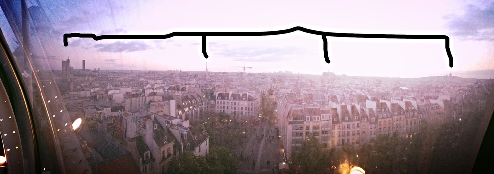 This photo is not great quality, but it shows all of Paris, with the spots indicated by the black line showing the areas I walked (I walked most of Paris that day - let me tell you, I had very sore feet that night).  The one on the far right is Montmartre, the far left is the Louvre, and the one next to the Louvre is the Tour Eiffel.