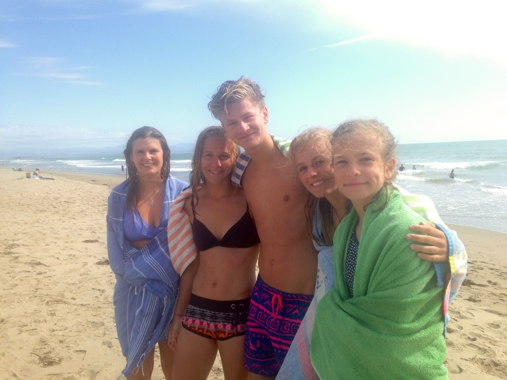 my cousins, brother, sister and me on the beach