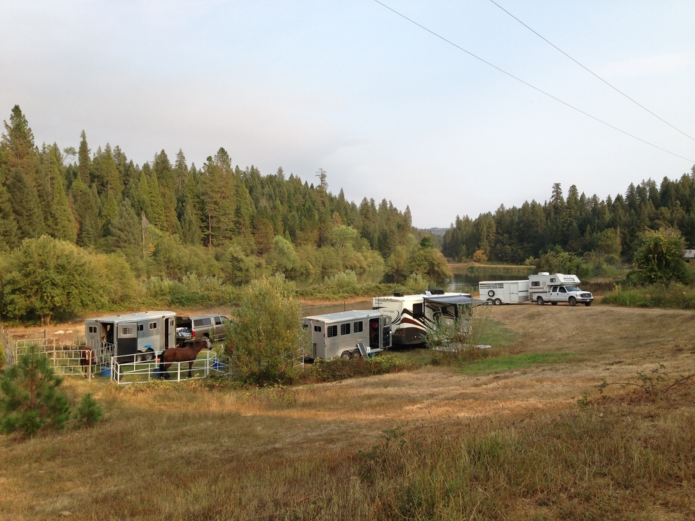 the ride camp (see the pond behind the farthest white truck?)