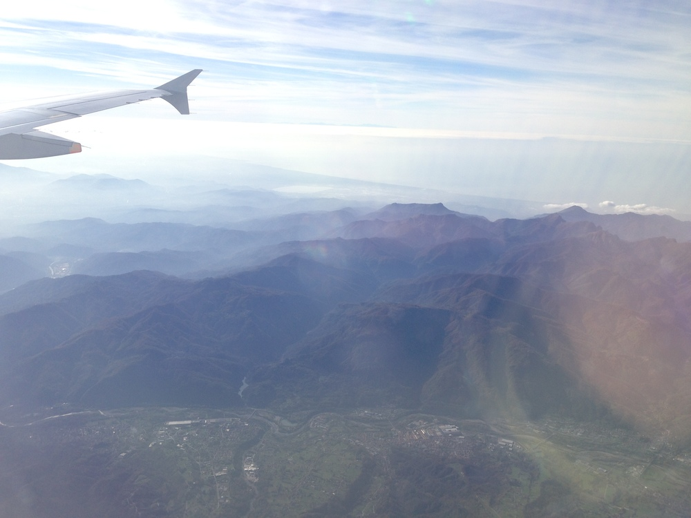 view of mountains out my window, approaching Florence