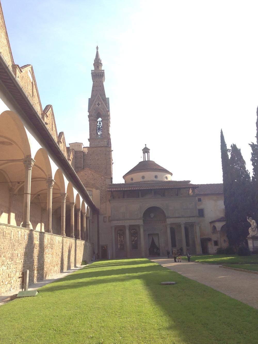 the courtyard at Santa Croce