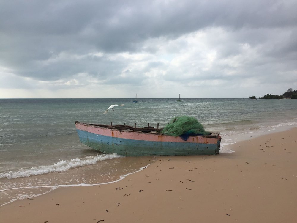 One of the fishing dhows and a net.