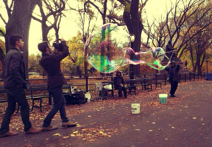 Co-Directors and Cinematographers Charles Frank and Jake Oleson shooting (carefully!) in Central Park