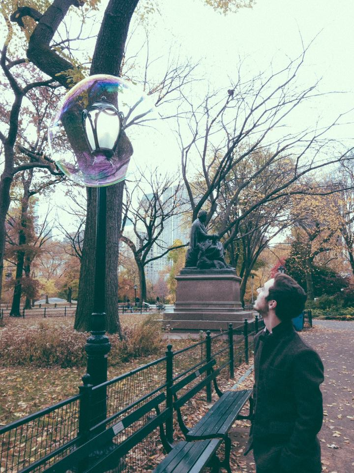 Jake enjoys a bubbly moment in Central Park