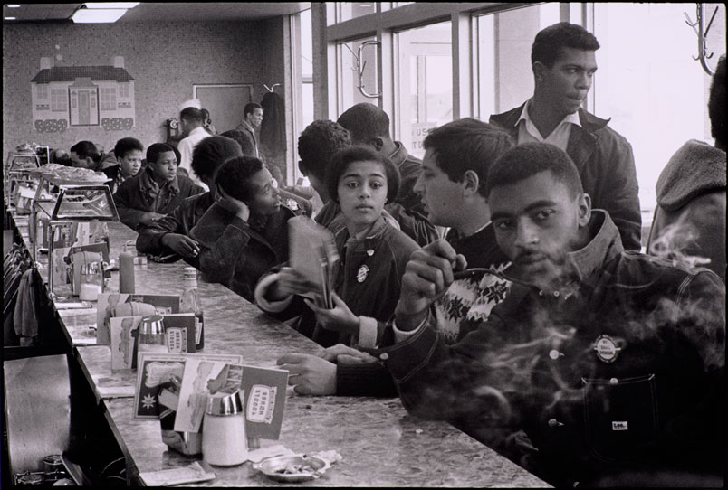 danny lyon SNCC staff and supporters sit in at an atlanta coffeeshop