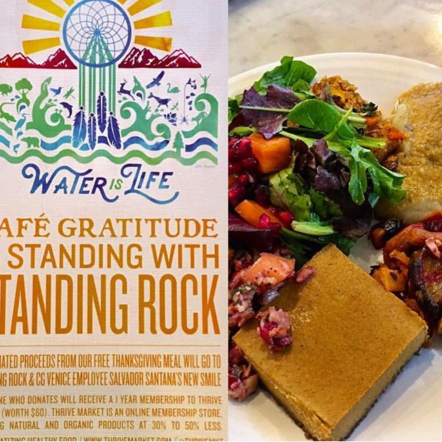 Free meals today @cafegratitude Beyond yummy and so much Love! Any donations went to support those protecting our right to clean, safe, water #standingrock #waterislife #nodapl #Thanksgiving #vegan #noanimalcruelty 📷 from @dela_moontribe