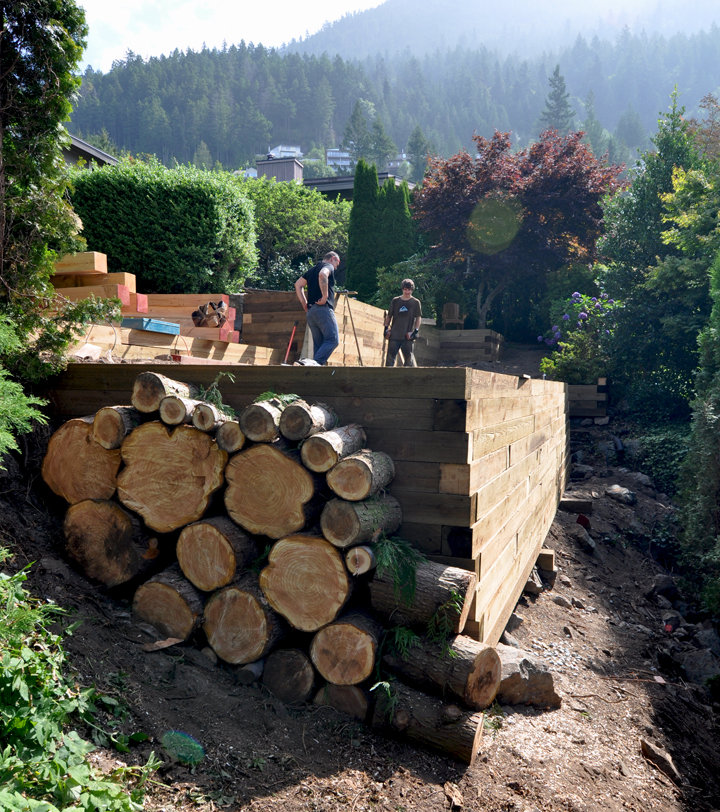Wood retaining wall installation in Lions Bay, BC