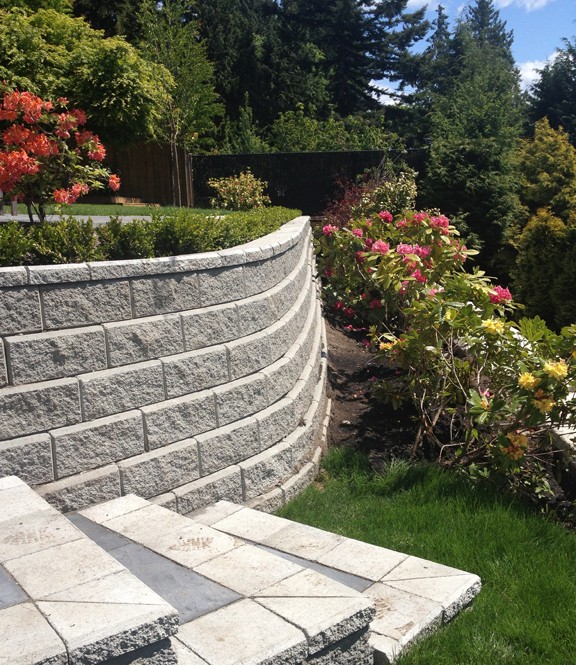 Allan Block wall installation in West Vancouver, BC.