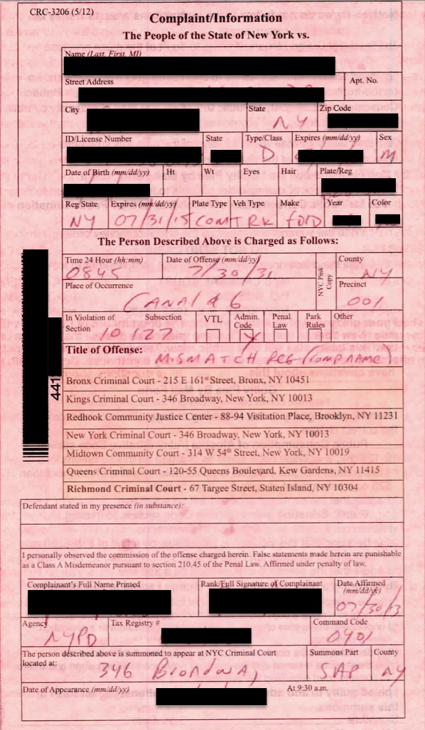 "Typical New York City Pink Summons.  Items have been blacked out to protect client privacy.  The summons number will usually begin with ""4"" and is located usually at the left hand side where the bar code is located.  The date of appearance and court is noted at the bottom."