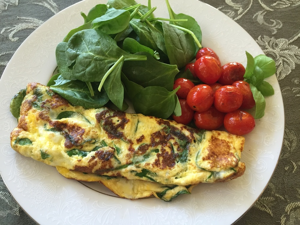 Arugula and Spinach Omelet with Basil, Baby Spinach and Blistered Grape Tomatoes