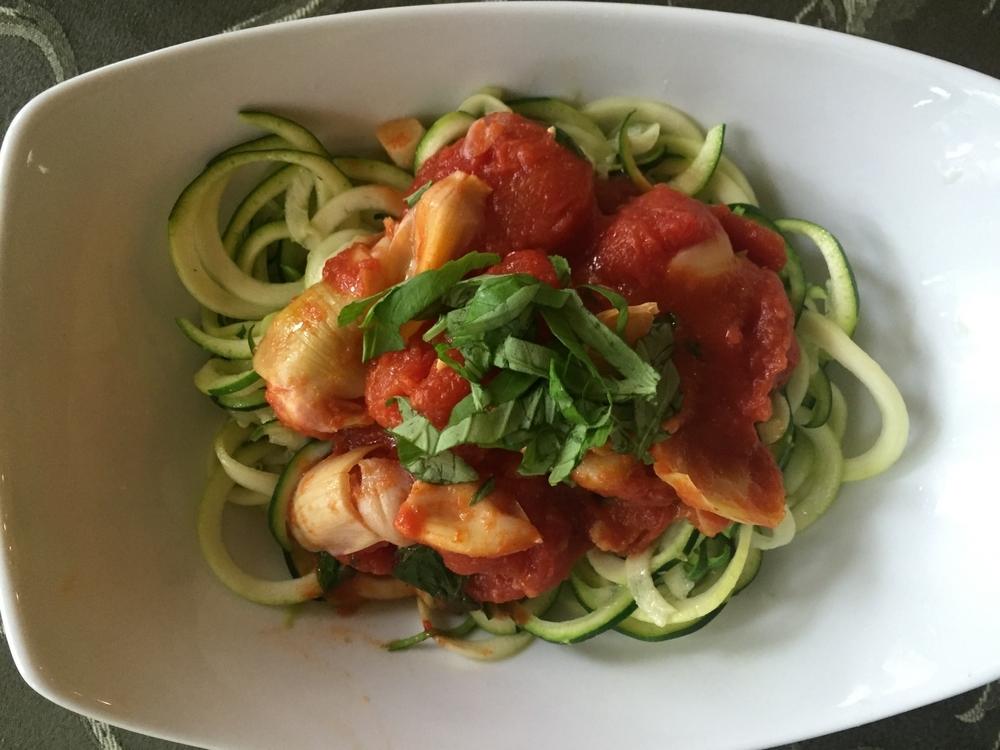 Zucchini Noodles with Tomato Basil Artichoke Sauce