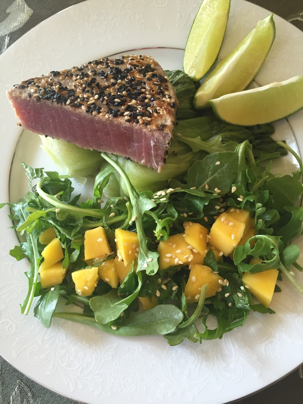 Sesame Tuna with Steamed Baby Bok Choy and Arugula Salad with Mango