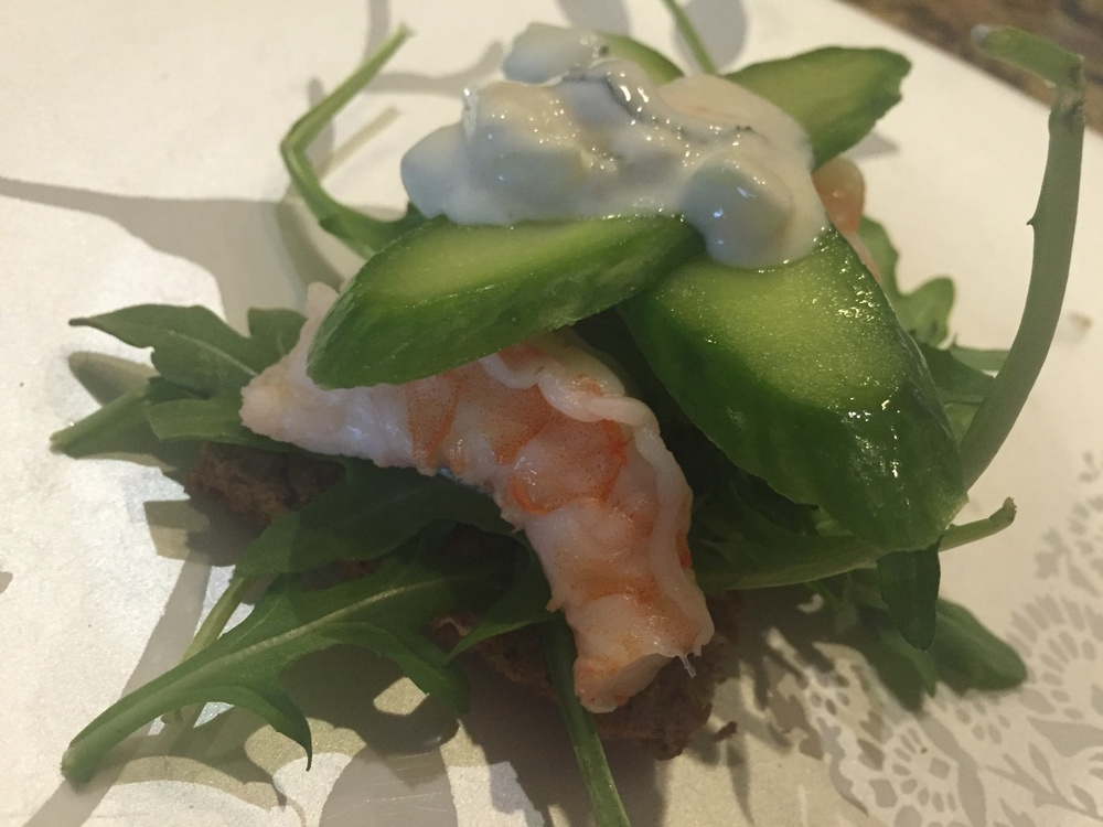 Fiber Rich Crackers with Cucumbers, Arugula, Cucumbers, Shrimp and Tzatziki Sauce