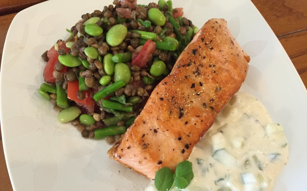 Crispy Skin Salmon with Lentil Edamame Salad and Tzatziki Sauce